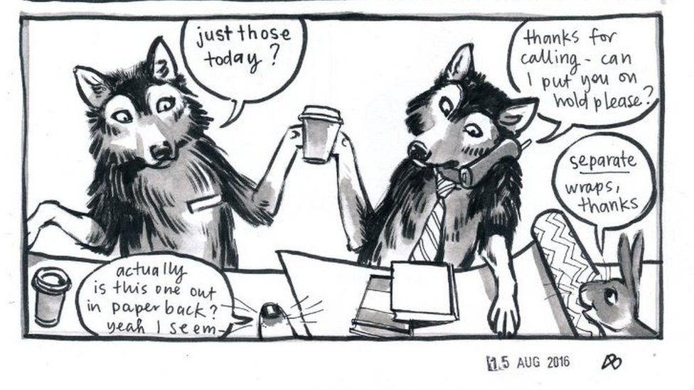 """Image showing two wolves behind a counter serving two smaller creatures. One wolf is saying """"Just those today?"""" A snout responds """"Actually is this one out in paperback? Yeah I see.""""The other wolf, who is wearing a tie and holding a drink, is on the phone saying: """"Thanks for calling - can I put you on hold please?"""" There is also a bunny in the picture saying, """"Separate wraps, thanks."""""""