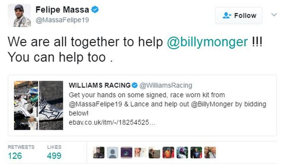 Felipe Massa retweeted a link to an auction for Billy by Williams Racing