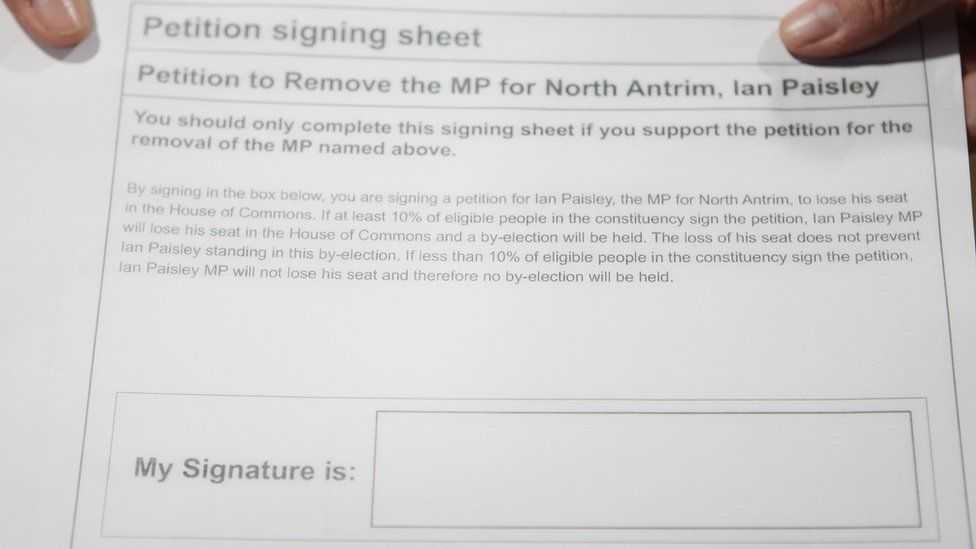 A petition to remove MP for North Antrim