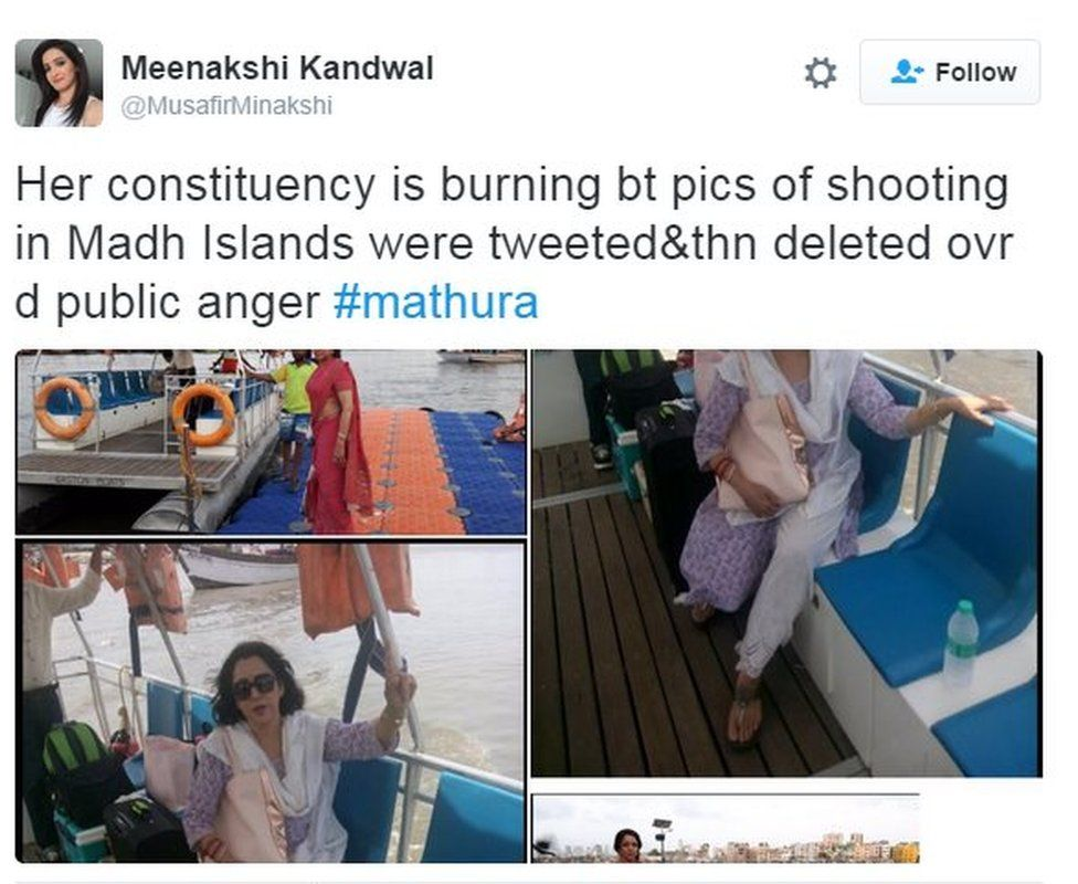 Her constituency is burning bt pics of shooting in Madh Islands were tweeted&thn deleted ovr d public anger #mathura
