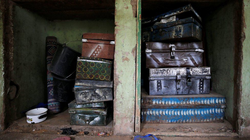 Suitcases are pictured inside girls hostel at the school in Dapchi in the northeastern state of Yobe, where dozens of school girls went missing after an attack on the village by Boko Haram, Nigeria February 23, 2018
