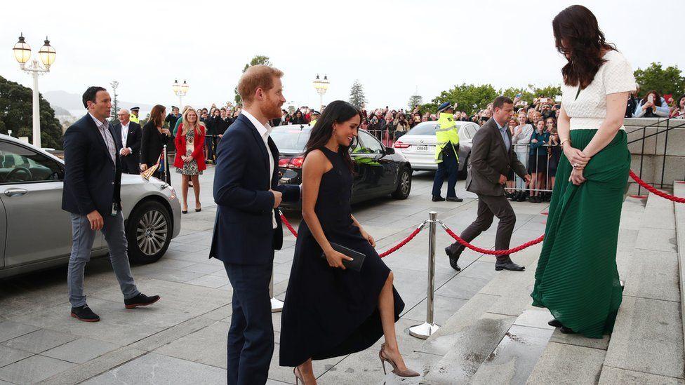 Jacinda Ardern greets Harry and Meghan