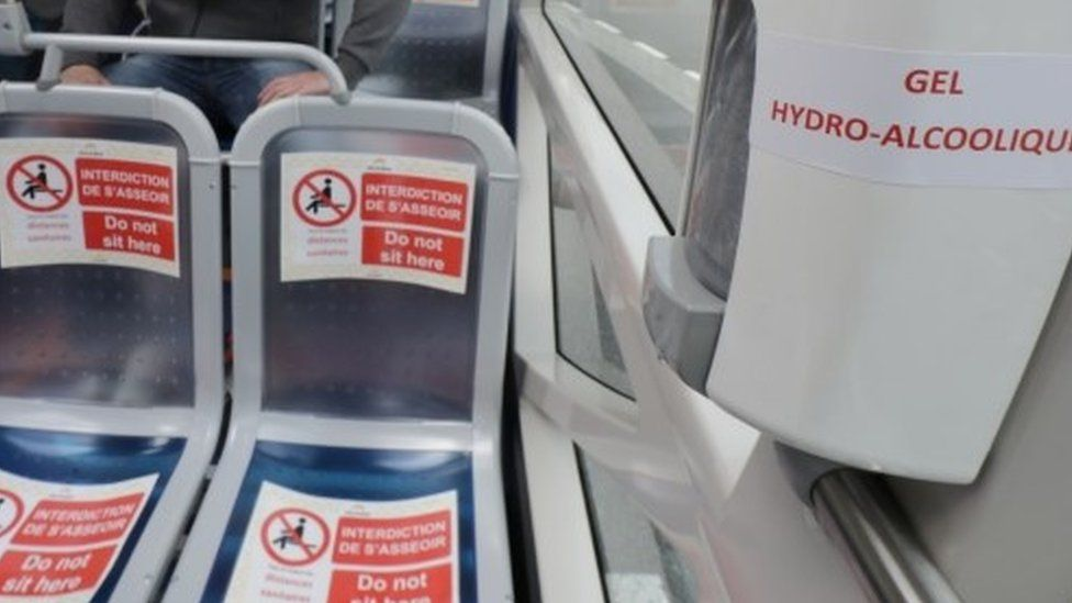 Seating restrictions on a French bus due to coronavirus