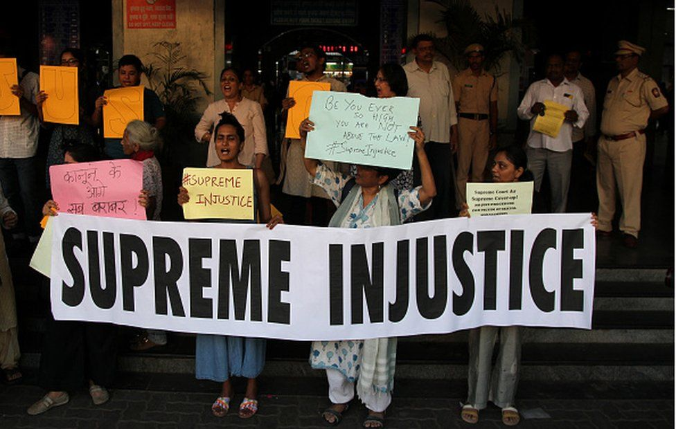 A protest in Mumbai in 2019 against a court of inquiry that cleared India's then chief justice Ranjan Gogoi of sexual harassment allegations made by a former employee