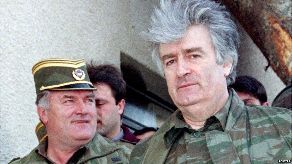 Bosnian Serb wartime leader Radovan Karadzic (R) and his general Ratko Mladic are seen on Mountain Vlasic in Banja Luka in Bosnia and Herzegovina, in this April 1995 file photo.