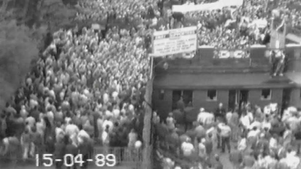 CCTV showing build up of fans outside the turnstiles on the day of the Hillsborough disaster