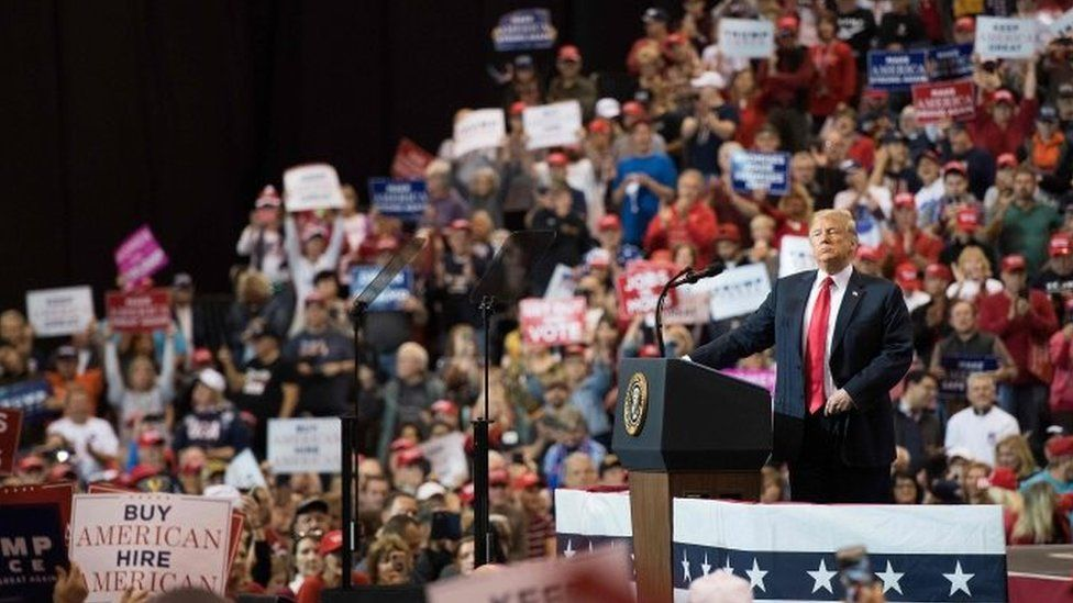 US President Donald Trump speaks at a Make America Great Again rally in Cleveland