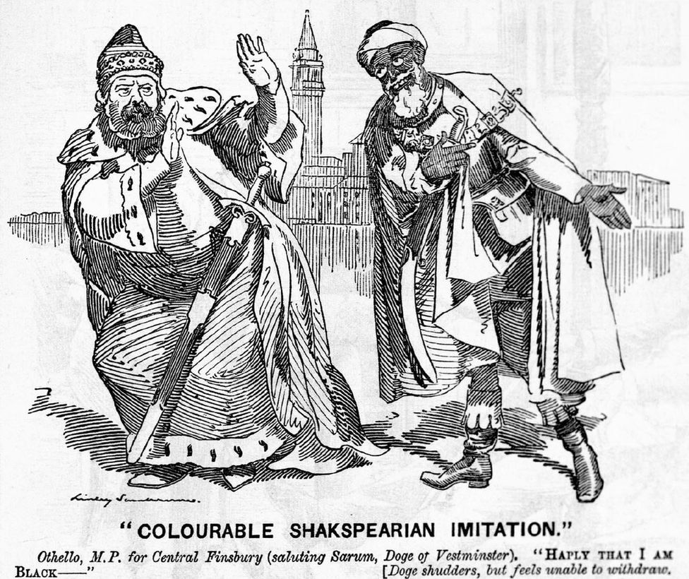 a cartoon from Punch depicting Naoroji, recently elected to Parliament, as Othello, confronting Lord Salisbury.