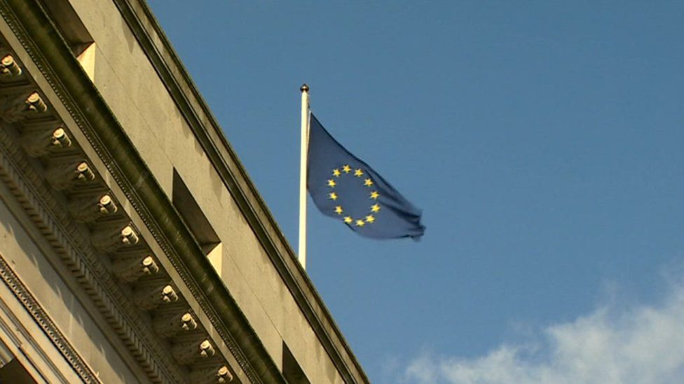 An EU flag on the Welsh Government headquarters