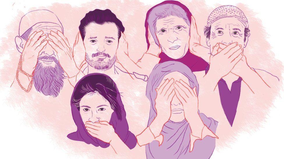 Illustration depicting the shutdown in Kashmir