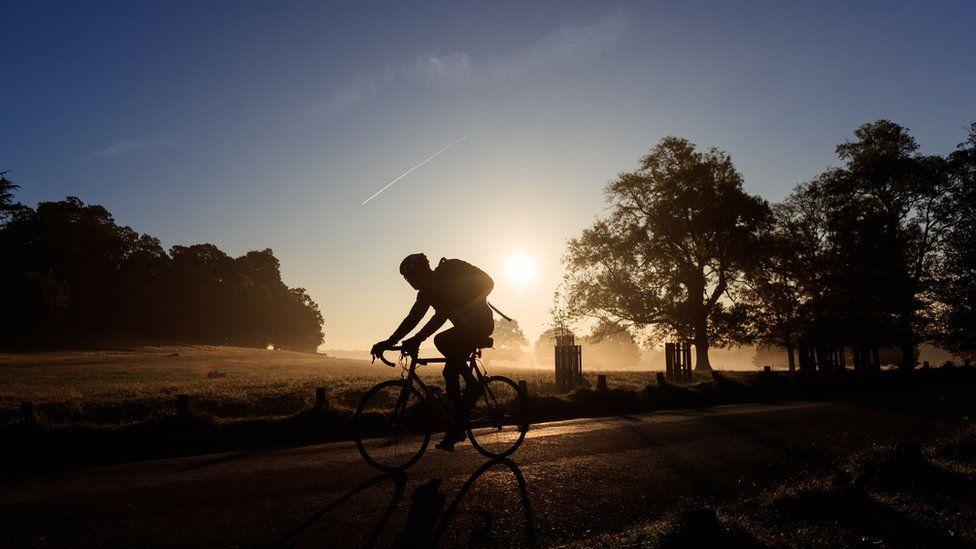 A cyclist in London's Richmond Park