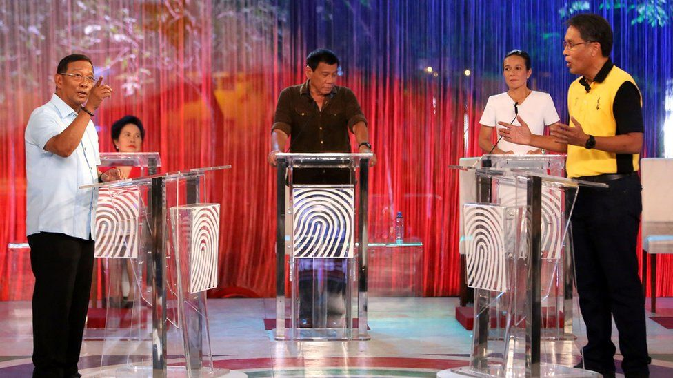 Philippine presidential candidates during the presidential debate at Phinma University of Pangasinan in Dagupan City, north of Manila