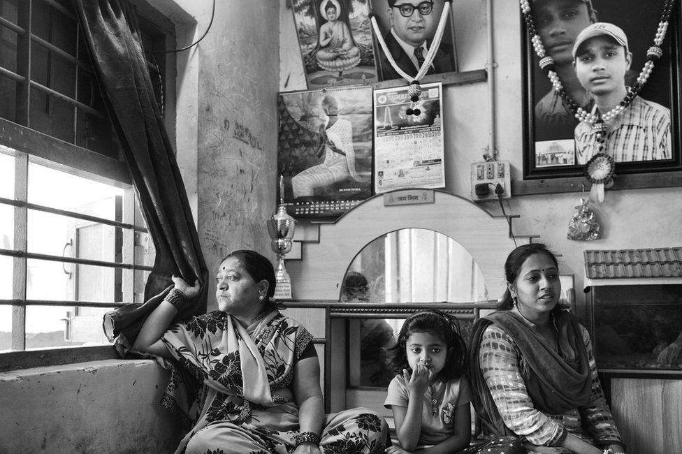 Sagar Shejwal's family at their home