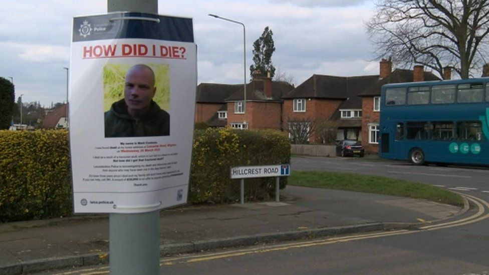 Poster appealing for information about Mark Cookson's death