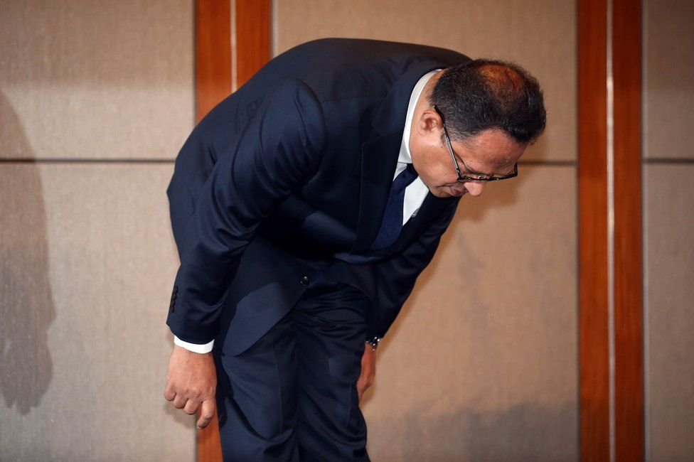 Atar Safdar, the head of Oxy Reckitt Benckiser Korea, bows during a press conference at a hotel in Seoul on May 2, 2016