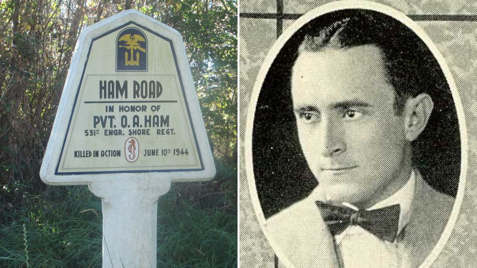 Otis Ham and a French road sign commemorating his death