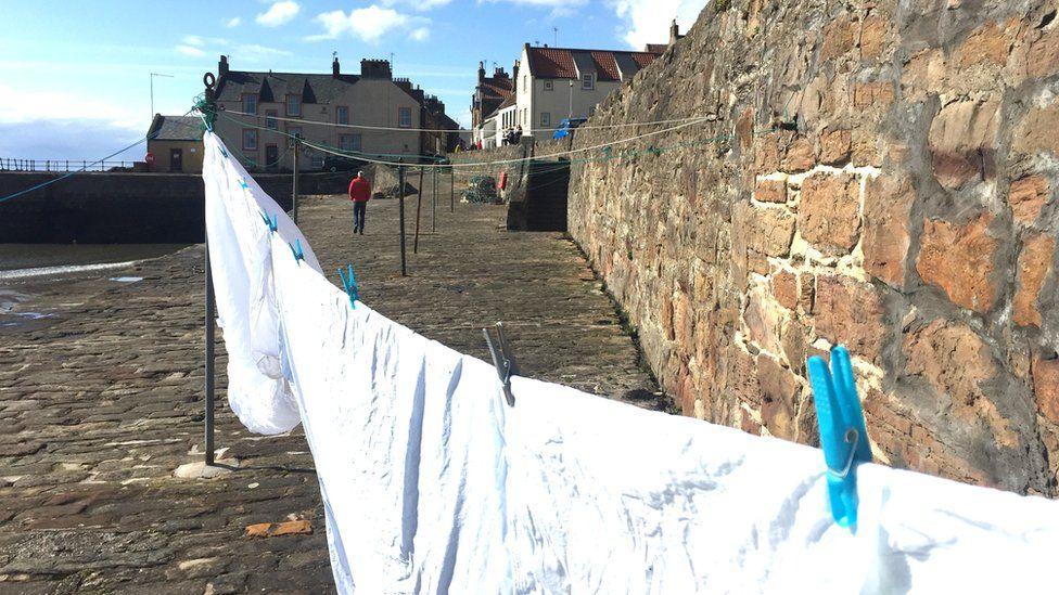 Washing dries at Cellardyke Harbour, Anstruther