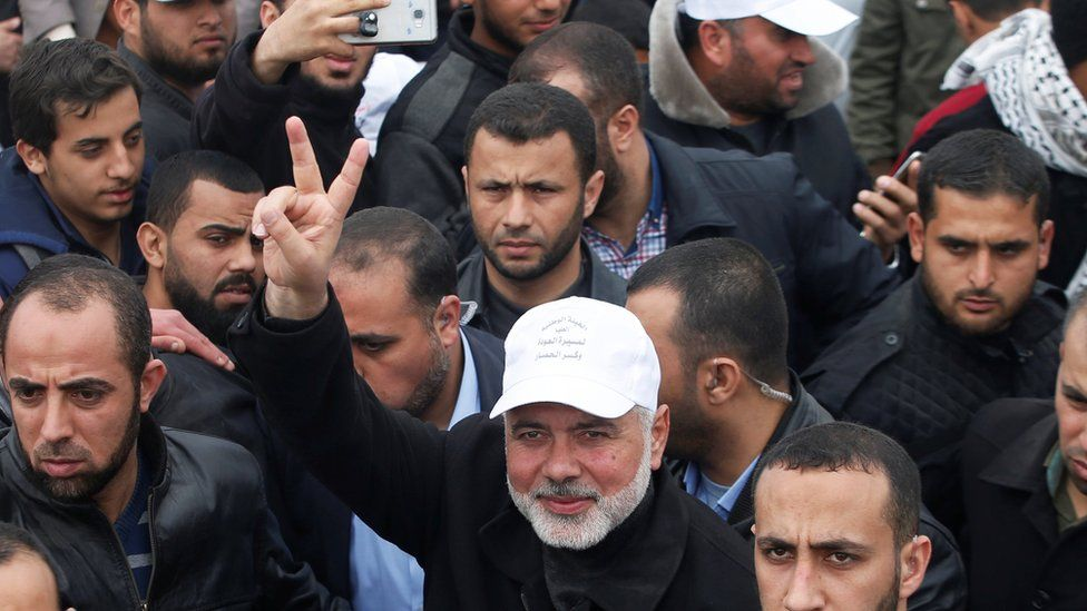 Hamas official Ismail Haniyeh gestures during a protest along the Israel border with Gaza, east of Gaza City March 30, 2018