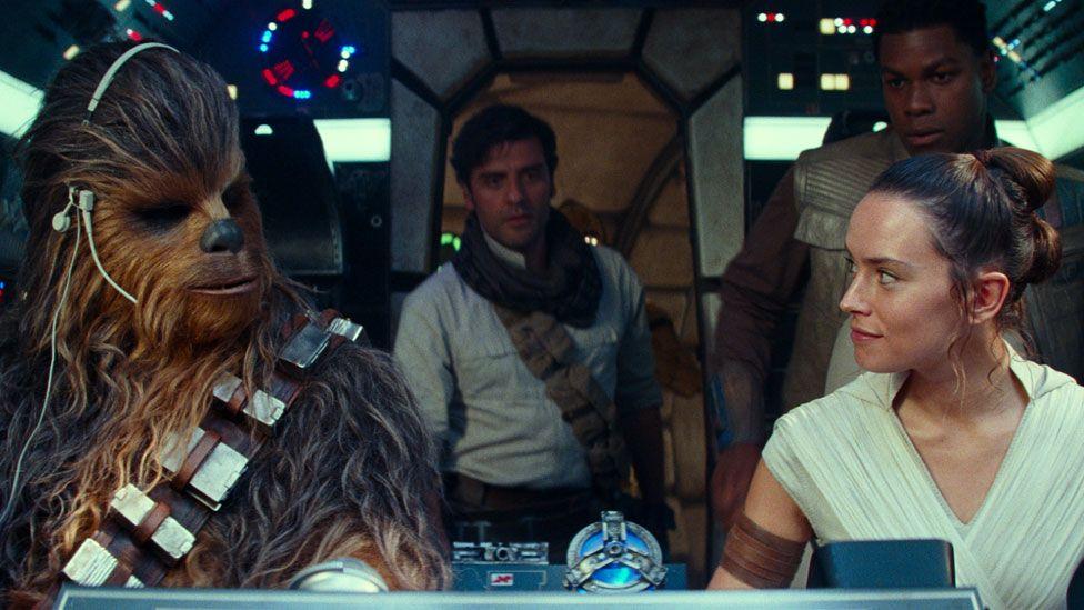Joonas Suotomo, Oscar Isaac, Daisy Ridley and John Boyega in Star Wars: The Rise of Skywalker