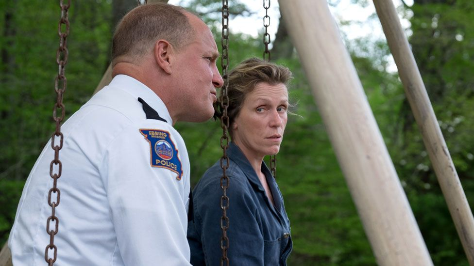 Frances McDormand with Woody Harrelson in Three Billboards Outside Ebbing, Missouri