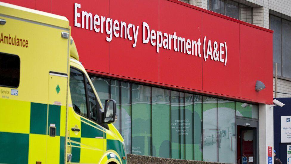 An ambulance outside a hospital