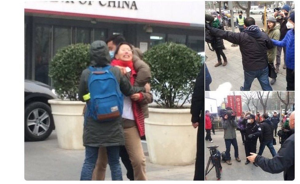 Tweet by BBC team showing plainclothes police manhandling journalists and a supporter of Pu outside a Beijing court on 22 December 2015