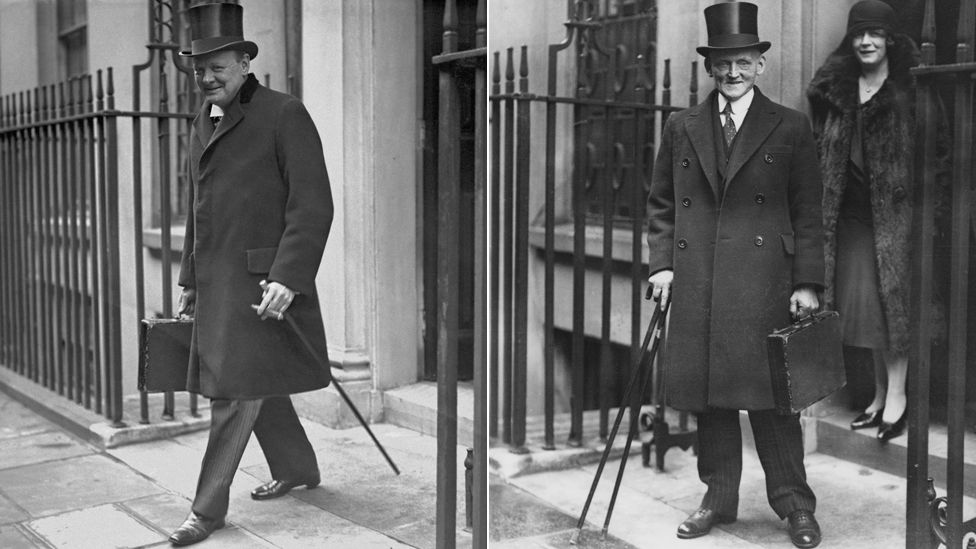 Winston Churchill pictured in 1925 (left), Philip Snowden pictured in 1930