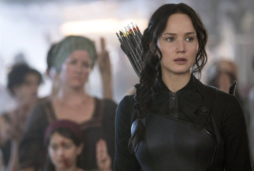 Jennifer Lawrence portrays Katniss Everdeen in a scene from The Hunger Games: Mockingjay Part 1