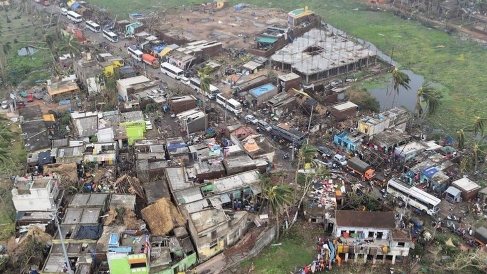 An aerial picture showing storm damage in a residential area of Puri, 4 May 2019