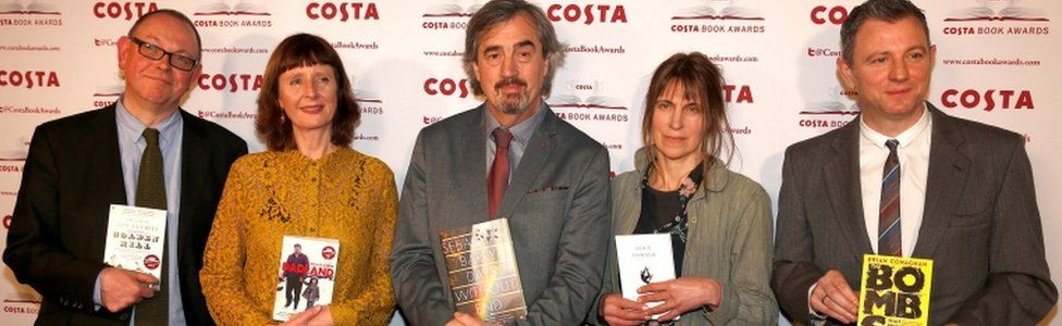 (Left to Right) Francis Spufford, Keggie Carew, Sebastian Barry, Alice Oswald and Brian Conaghan pose with their books