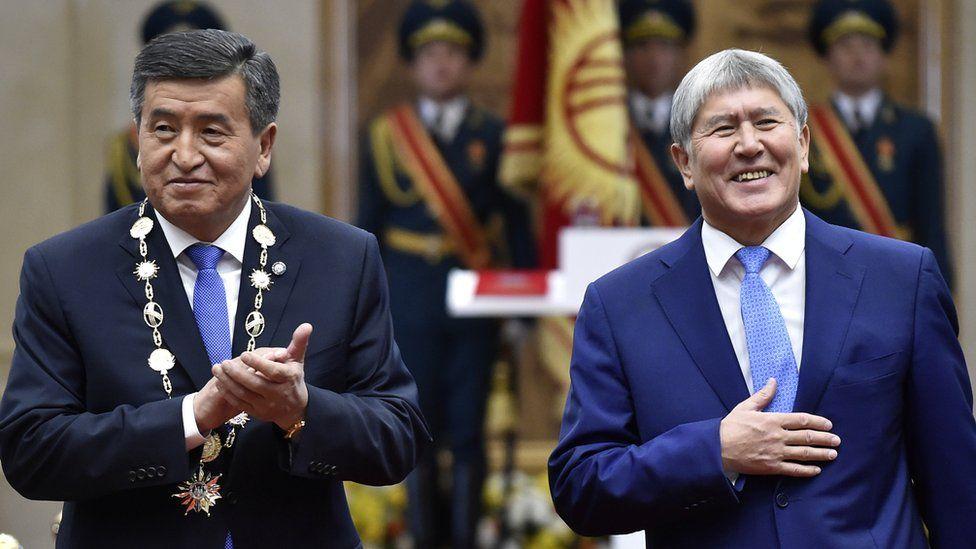 Kyrgyzstan President Soronbai Jeenbekov, left, with his predecessor Almazbek Atambayev
