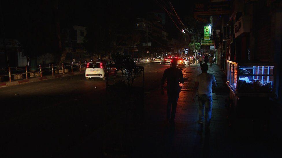 Unlit street in the Gaza Strip at night