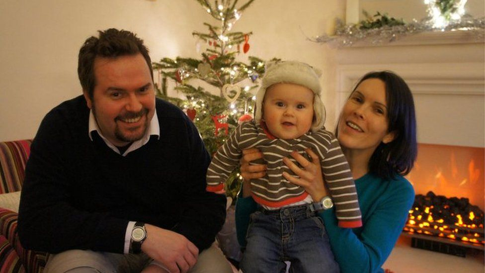 Craig Stobo with his wife Fiona and son Robert at Christmas 2010