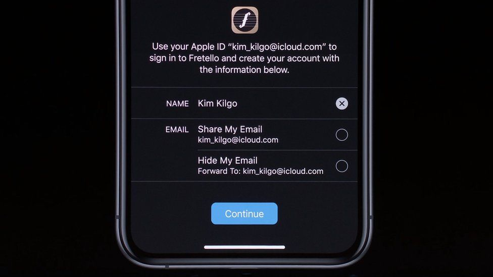 Apple's new sign in includes an email address hiding function