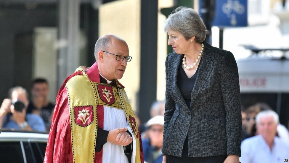Prime Minister Theresa May and the Dean of Southwark Andrew Nunn