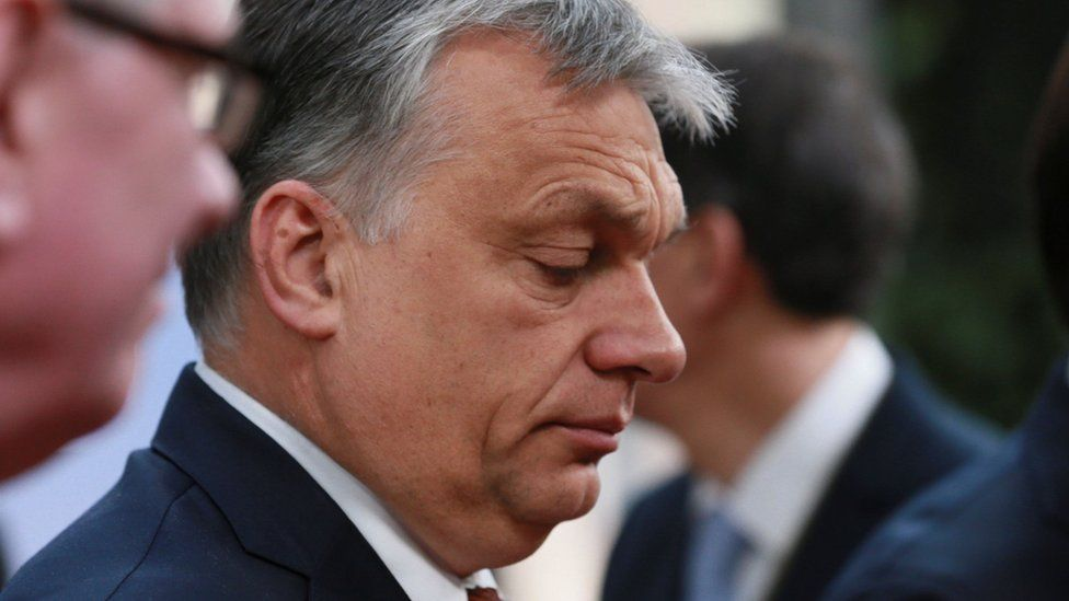 Hungarian Prime Minister Viktor Orban at a special EU leaders' meeting in Brussels to adopt guidelines for the Brexit talks on April 29, 2017