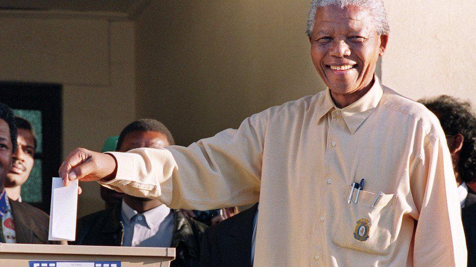 Nelson Mandela voting in 1994