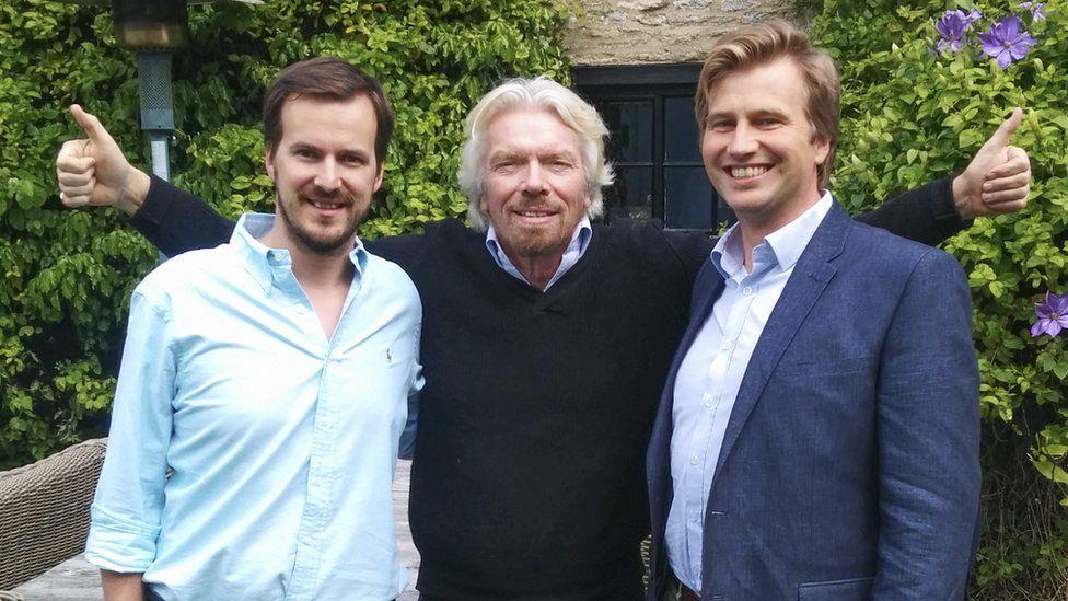 Kristo Kaarmann and Taavet Hinrikus with Sir Richard Branson