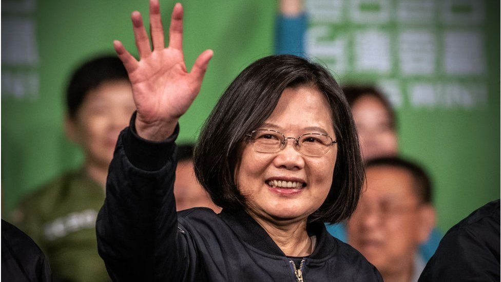 Tsai Ing-Wen waves after addressing supporters following her re-election as President of Taiwan on January 11, 2020 in Taipei, Taiwan