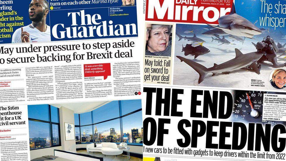 Composite image featuring Guardian and Mirror front pages