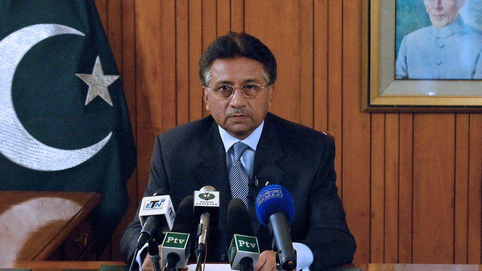 President Pervez Musharraf resigning in 2008