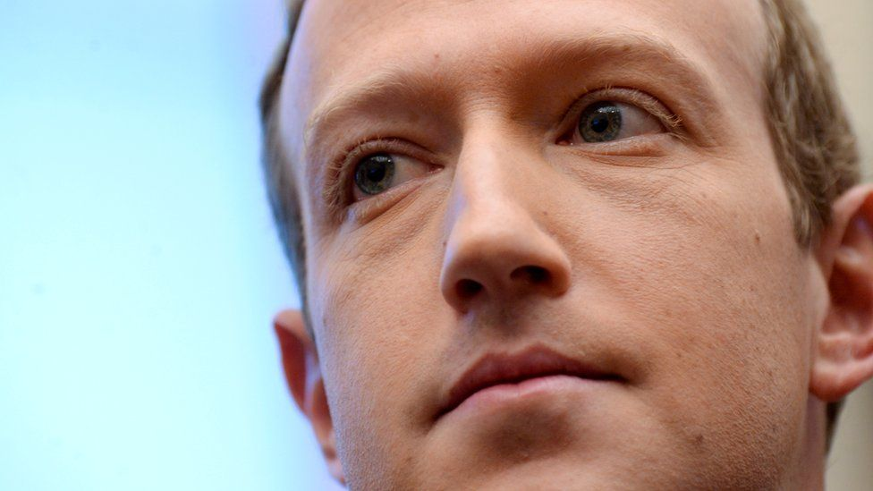 Facebook Chairman and CEO Mark Zuckerberg is seen in extreme close-up