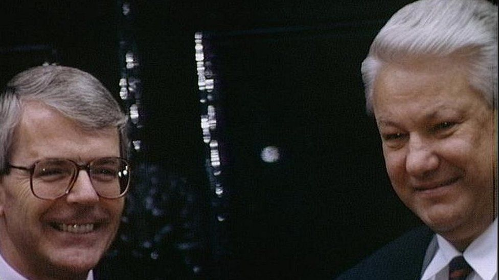 John Major and Boris Yeltsin in 1992
