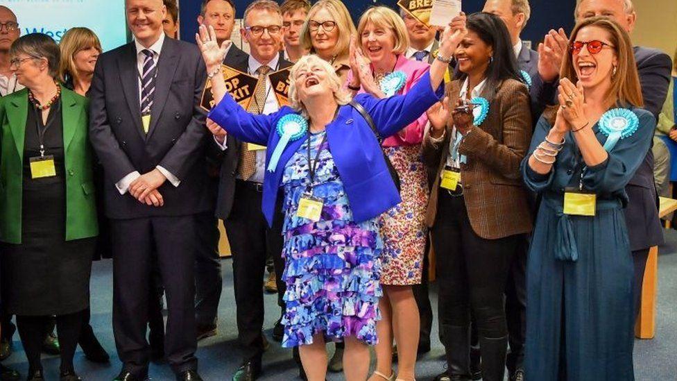 Ann Widdecombe celebrating