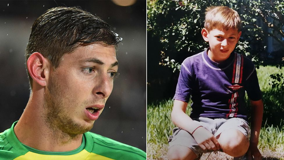 Emiliano Sala in his playing days at Nantes and (right) as a young boy in Argentina