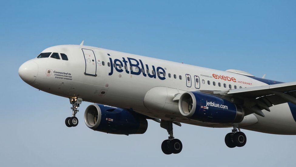 File pic of JetBlue Airbus 320 landing at JFK airport in New York