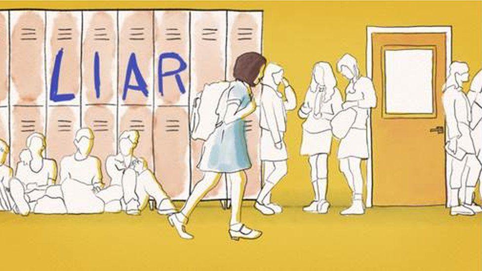 Animated schoolgirl walking through corridor