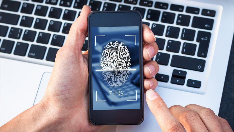 A smartphone biometric fingerprint scanner
