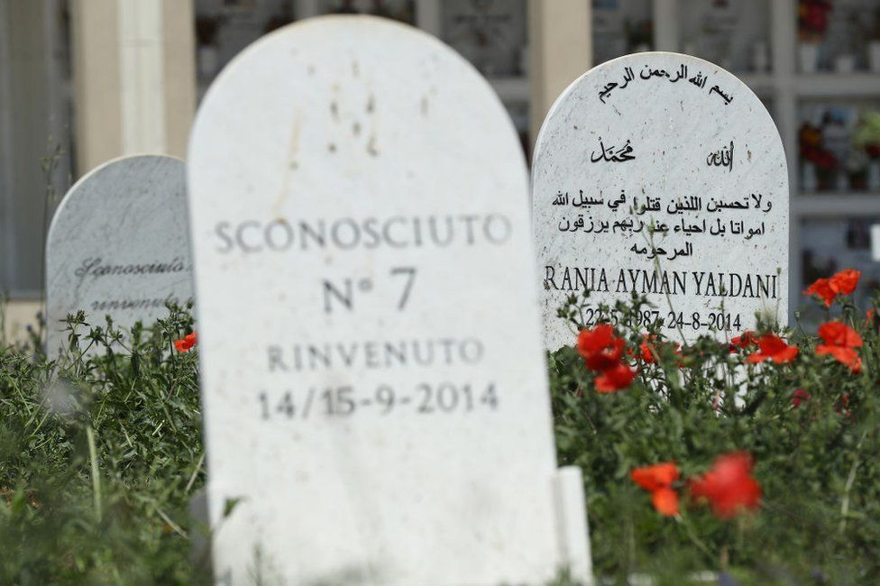 """Grave stones in Augusta, Sicily, for migrants of an earlier tragedy - """"sconosciuto"""" means """"unknown"""" and """"rinvenuto"""" means """"found"""""""