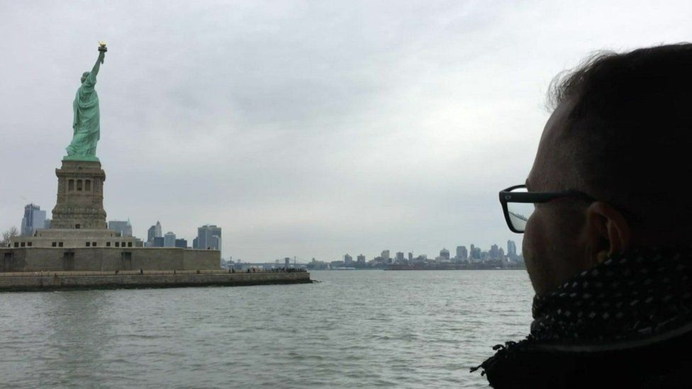 Munther and the statue of liberty